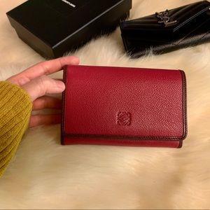 Loewe Burgundy Red Leather Wallet